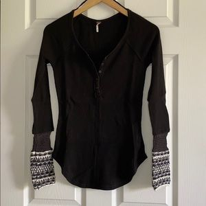 Free People Black Henley Shirt With Sweater Cuffs